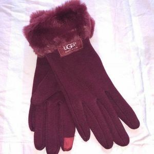 Red ugg tech fur gloves